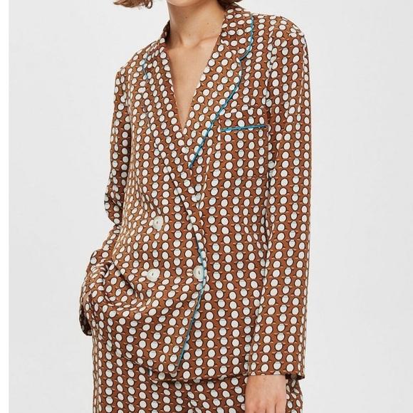 Topshop Jackets & Blazers - Topshop Geo print pajama jacket brown multi 2 US